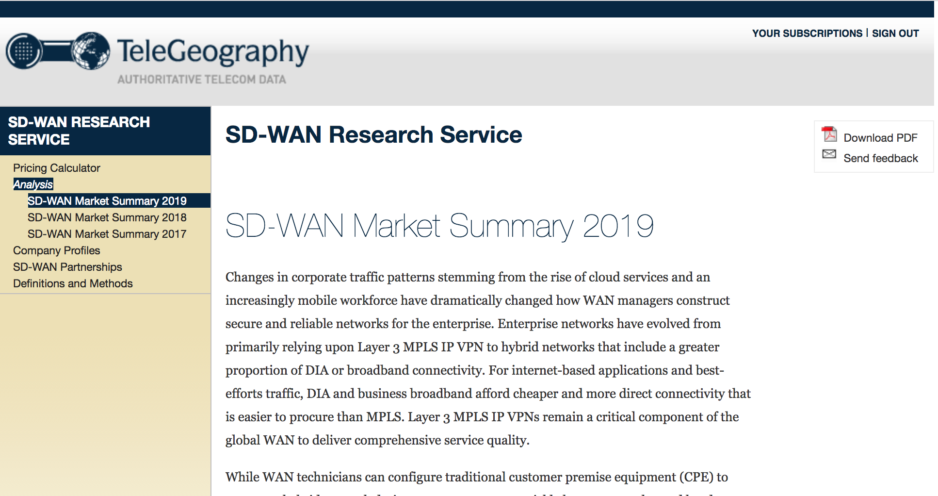 SDWAN Research Service 2019